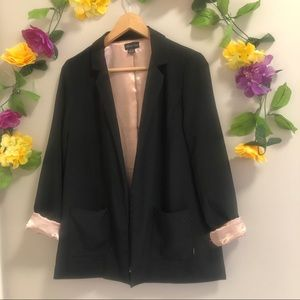 Seductions Satin Lined Black Open Front Blazer